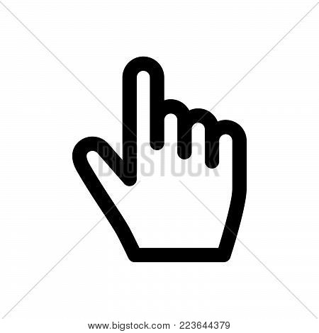 Hand click icon isolated on white background. Hand click icon modern symbol for graphic and web design. Hand click icon simple sign for logo, web, app, UI. Hand click icon flat vector illustration, EPS10.