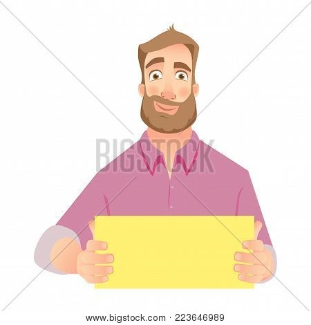 Man holding blank paper. Man with empty sheet of paper