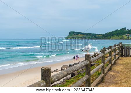 Australian Coastal Sand Beach At Lennox Head, Australia