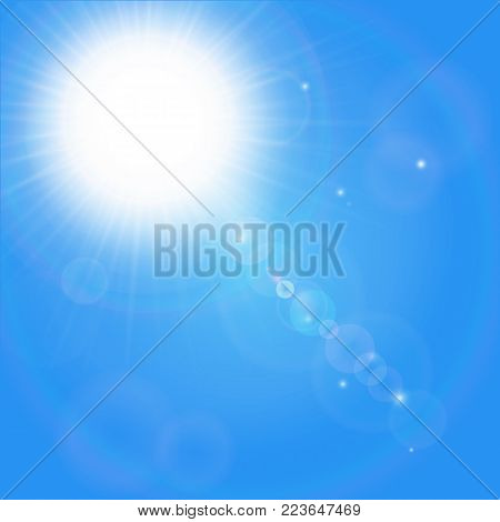 The sun with a bright flash. star and sparkling flashes.
