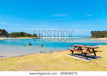 Australian Coastal Sand Beach At Coffs Harbour, Australia