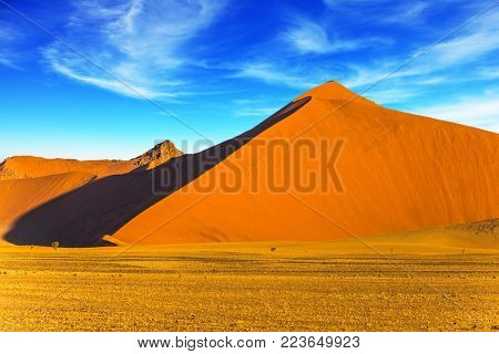 The concept of extreme and exotic tourism. The most ancient in the world Namib Desert. Namibia, South Africa. Sharp border of light and shadow over the crest of the dune. Sunset in the desert
