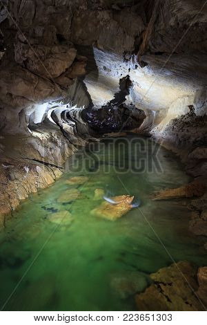 Underground river in clearwater cave Gunung Mulu national park Borneo Malaysia