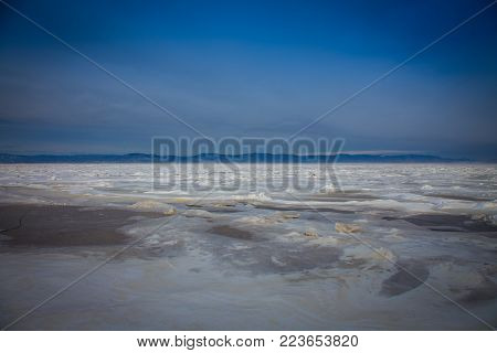 The frozen St Lawrence seaway Quebec Canada