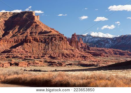 Fisher Towers Recreation site is along Utah`s Scenic Colorado River way into Moab Utah. Area was very popular with several motion pictures that were filmed near Fisher Towers. The La Sal mountains are a backdrop to the Fisher Towers.