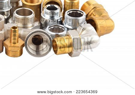 Set of plumbing fitting, isolated on white background