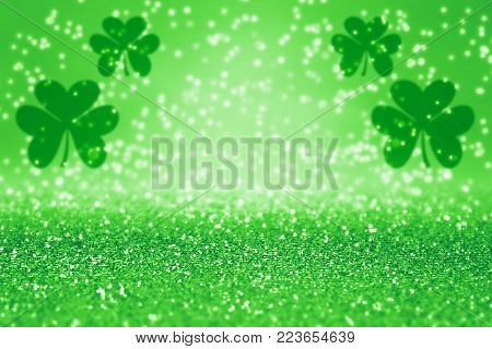 Elegant abstract green glitter sparkle confetti background for party invite, St Patrick's Day luck, lucky Saint Paddys Irish texture, happy Pattys, Celtic shamrock pattern, Spring sale or celebration