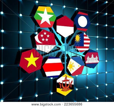 ASEAN - political and economic organization of ten Southeast Asian countries. Union members flags. 3D rendering