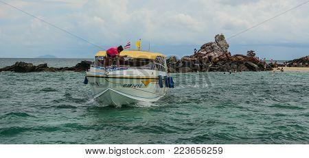 Phuket, Thailand - Jun 19, 2016. A Speedboat On The Sea In Phuket, Thailand. Phuket Is 48 Km In Leng