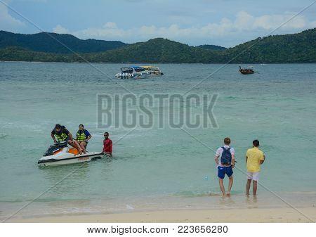 Phuket, Thailand - Jun 20, 2016. People Enjoy On Karon Beach In Phuket, Thailand. Phuket Is 48 Km In