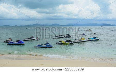 Phuket, Thailand - Jun 20, 2016. Jet Ski Waiting On The Beach In Phuket, Thailand. Phuket Is 48 Km I