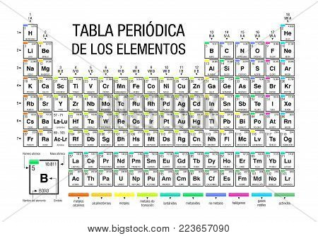 TABLA PERIODICA DE LOS ELEMENTOS -Periodic Table of Elements in Spanish language- on white background with the 4 new elements included on November 28, 2016 by the IUPAC - Vector image