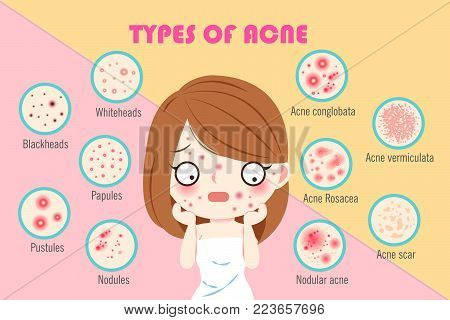 girl with types of acne on the pink background