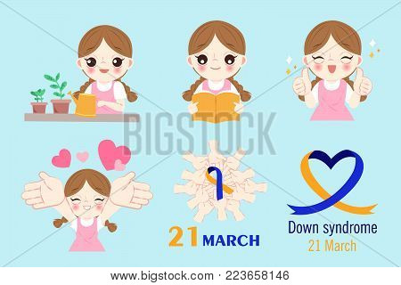 girl with down syndrome concept on the blue background