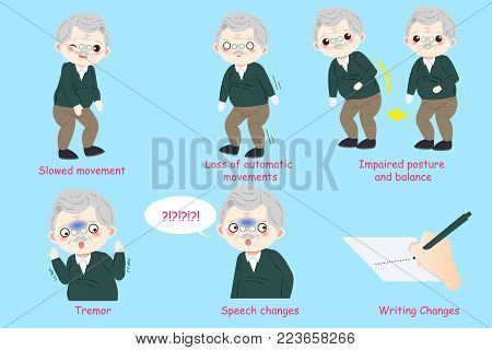 old man with parkinson disease on the blue background