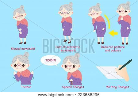 old woman with parkinson disease on the blue background