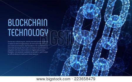 Blockchain. Cryptocurrency. Block chain concept. 3D wireframe chain with digital blocks. Editable template. Stock vector illustration