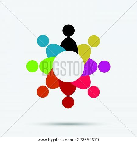 Vector Graphic Group Connection Logo.eight People In The Circle.logo Team Work