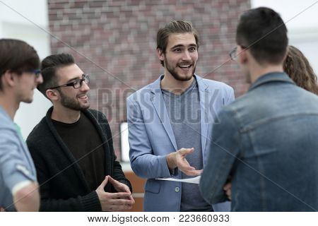 group of business people discussing issues