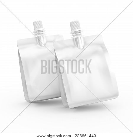 Foil Bag For Drink Or Food, Blank Foil Bag Mockup For Beverage Design In 3d Rendering, Two Floating