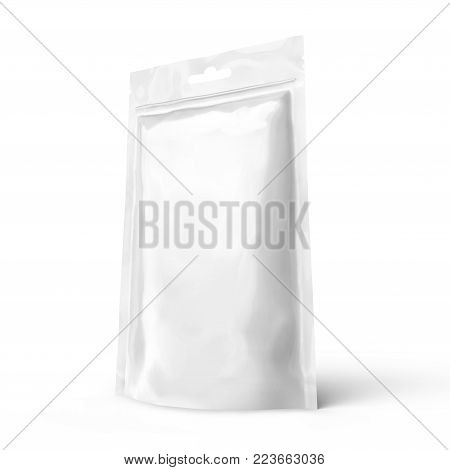 Blank Zipper Pouch, Single Blank Foil Bag Template Mockup For Design Uses In 3d Rendering