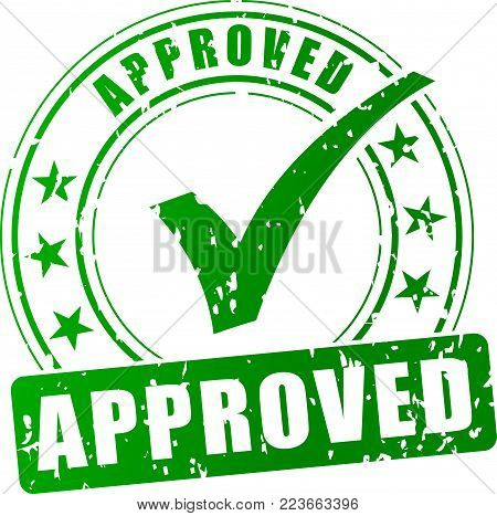 Illustration of approved stamp on white background