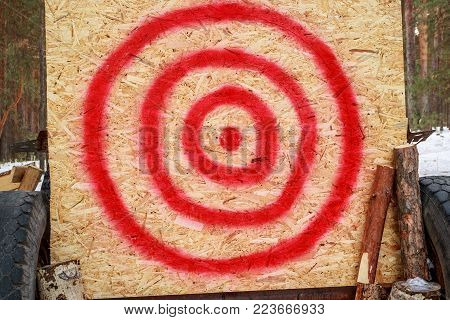 Homemade Target On A Plywood Sheet Of Wood, Uneven Red Circles