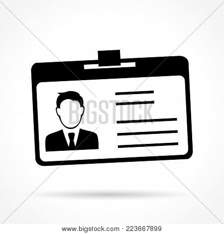 Illustration of id card icon on white background