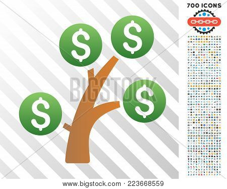 Money Tree gradient icon with 700 bonus bitcoin mining and blockchain graphic icons. Vector illustration style is flat iconic symbols designed for blockchain apps.