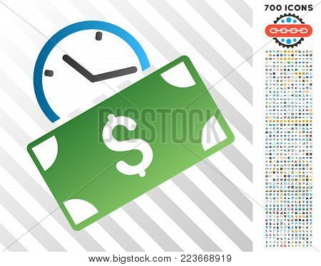 Recurring Payment gradient icon with 700 bonus bitcoin mining and blockchain pictograms. Vector illustration style is flat iconic symbols designed for cryptocurrency websites.