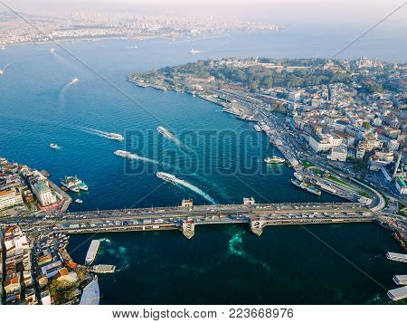 Galata Bridge, Bosphorus Turkey Istanbul aerial photography