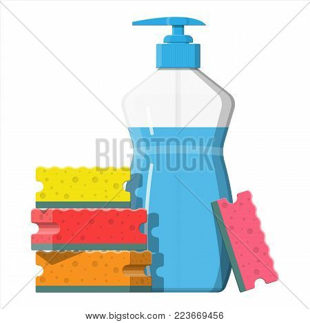 Bottle with dispenser and sponge. Washing sponge. Kitchenware scouring pads. Kitchen and bath cleaning tool accestories. Vector illustration in flat style