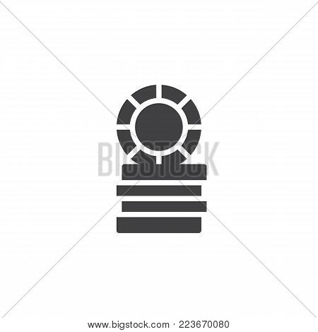 Casino token, gaming chips icon vector, filled flat sign, solid pictogram isolated on white. Symbol, logo illustration.