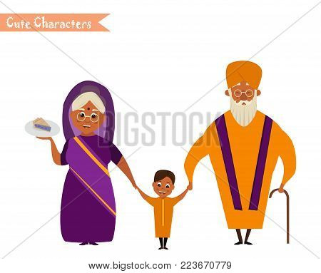 happy indian family in national dress isolated vector illustration. grandparents and children cartoon characters. senior couple with grandchildren