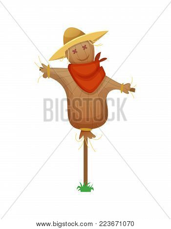 Scarecrow. Cartoon Stuffed Man in a Red Armband and Straw Hat.