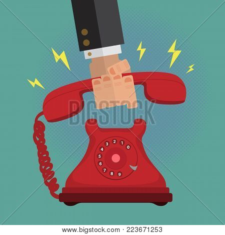 Male Business man Picking up a Dial Vintage Retro Phone Call. Flat Vector.