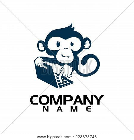 Geek Monkey Logo Template. Monkey with glasses mascot cartoon sign. Vector Illustration