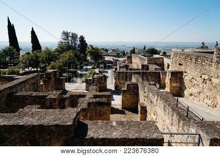 Cordoba, Spain - April 11, 2017: Scenic view of the ruins of archeological set of Madinat al-Zahra also called Medina Azahara