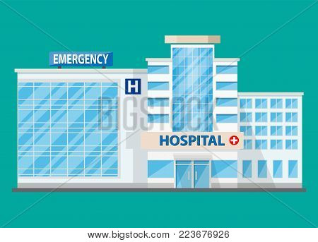 Hospital building, medical icon. Healthcare, hospital and medical diagnostics. Urgency and emergency services. Vector illustration in flat style