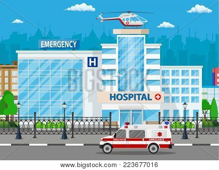 Hospital building, medical icon. Healthcare, hospital and medical diagnostics. Urgency and emergency services. Road, sky, tree. Car and helicopter. Vector illustration in flat style