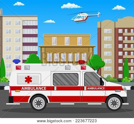 Ambulance car. Emergency vehicle and helicopter. Hospital transport. Healthcare, hospital and medical diagnostics. Urgency and emergency services. Vector illustration in flat style