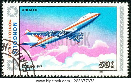 Ukraine - circa 2018: A postage stamp printed in Mongolia show aircraft Boeing 747. Series: Airplanes. Circa 1984