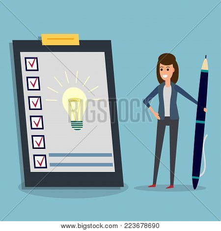 Happy businesswoman holding pen looking at questionnaire with idea bulb on clipboard. Concept illustration of customer testimonials, business, vote, feedback, review support, rating.