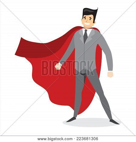 Vector illustration in flat design of set of businessman Superhero with the red cloak