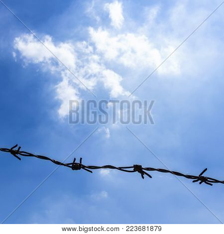 Barbed wire on fence with blue sky to feel worrying
