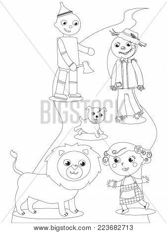 The wizard fairytale. Girl with her dog, the Scarecrow and the Tin Man meets the Lion. Coloring vector.