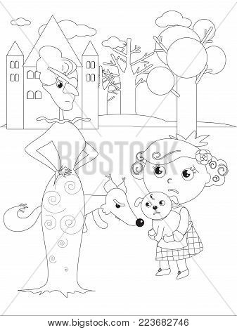 The wizard fairytale. Girl with her dog and the wicked West witch, vector coloring