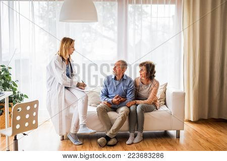 Young female doctor talking to a senior couple. Home visit.