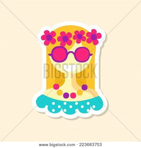 Beautiful hippie girl cute sticker in bright colors, fashion patch vector illustration, badge in cartoon style