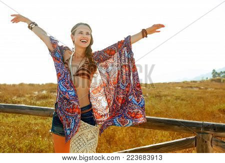 Smiling Bohemian Girl Outdoors In Summer Evening Rejoicing